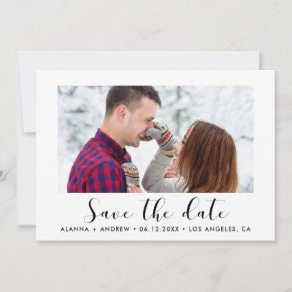 Elegant font save the date couple photo announcement
