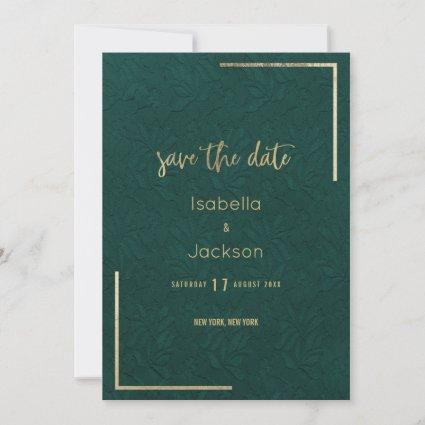 Elegant forest green gold floral lace save the date
