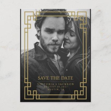 ELEGANT GEOMETRIC GOLD FRAME PHOTO SAVE THE DATE ANNOUNCEMENT