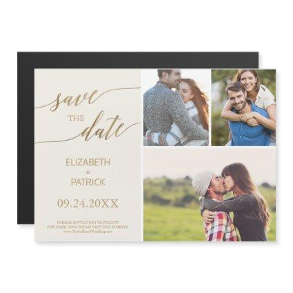 Elegant Gold and Ivory 3 Photo Save the Date Magnetic Invitation