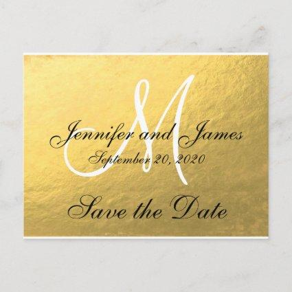 Elegant Gold Black Save the Date Announcements