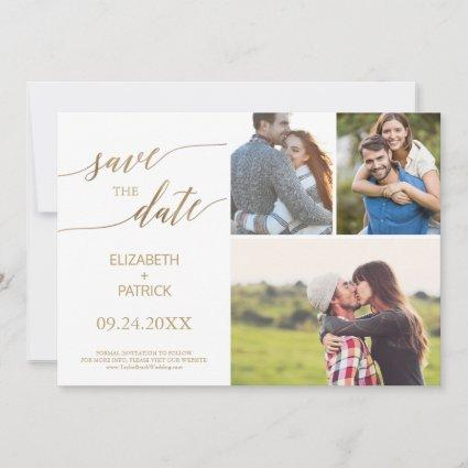 Elegant Gold Calligraphy 3 Photo Collage Save The Date