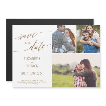 Elegant Gold Calligraphy 3 Photo Save the Date Magnetic Invitation