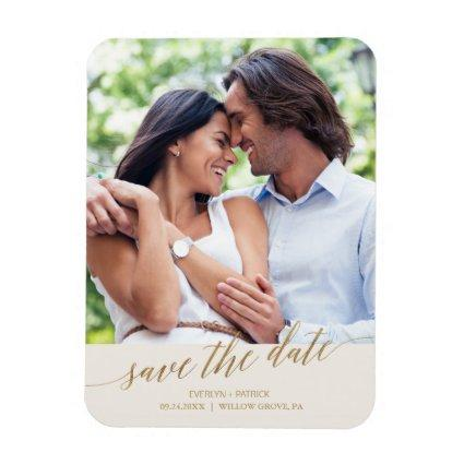 Elegant Gold Calligraphy Ivory Save the Date Magnets
