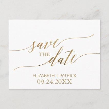 Elegant Gold Calligraphy Save the Date Announcement