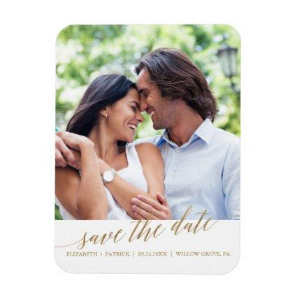 Elegant Gold Calligraphy Save the Date Magnets