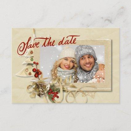 Elegant Gold Christmas Photo Save the Date