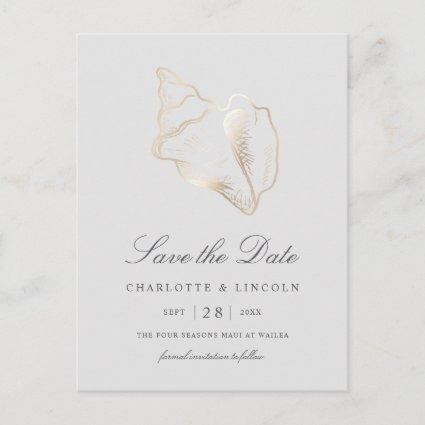 Elegant Gold Conch Shell Wedding Save the Date Announcement