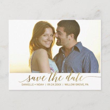 Elegant Gold Foil Calligraphy Save the Date Photo Announcement