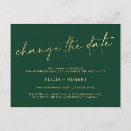 Elegant gold foil green wedding change the date announcement