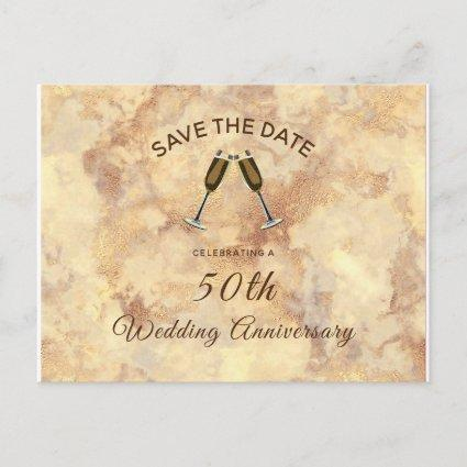 Elegant Gold Marble Save The Date Anniversary Invitation