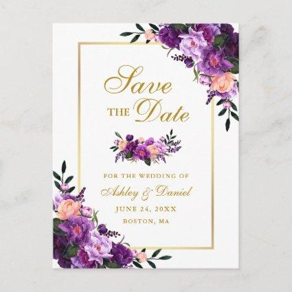 Elegant Gold Purple Violet Floral Save the Date Announcement