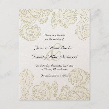 Elegant Gold Scrolls Wedding Save the Date Card
