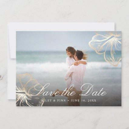 Elegant Gold Tropical Hibiscus Floral Photo Save The Date