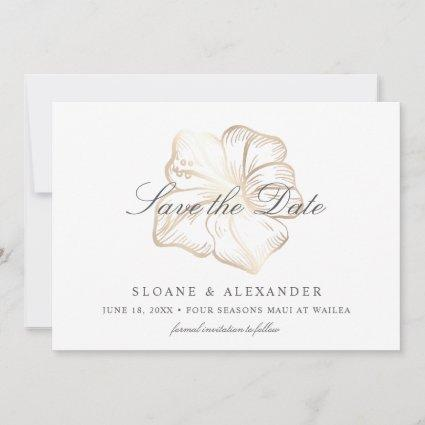 Elegant Gold Tropical Hibiscus Flower Wedding Save The Date