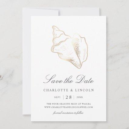 Elegant Golden Conch Shell Wedding Save The Date