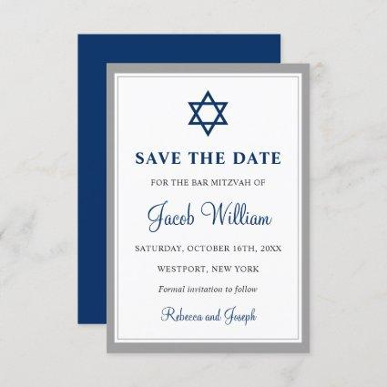 """Elegant Gray and Navy Blue Bar Mitzvah 3.5"""" x 5"""" Save The Date"""