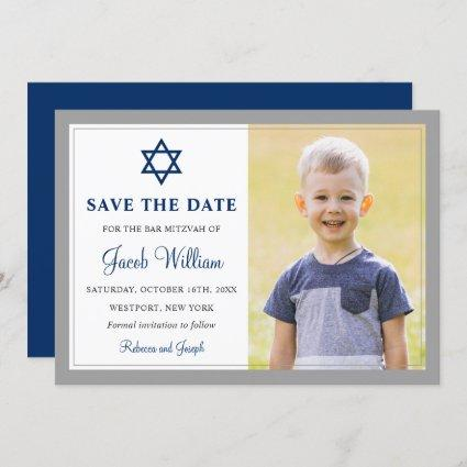 Elegant Gray and Navy Blue Bar Mitzvah Photo Save The Date