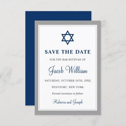 Elegant Gray and Navy Blue Bar Mitzvah Save The Date