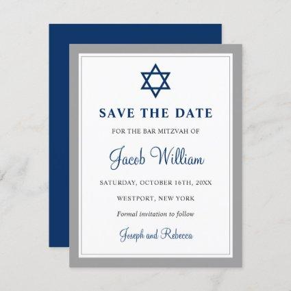 "Elegant Gray & Navy Blue Bar Mitzvah 4.25"" x 5.5"" Save The Date"