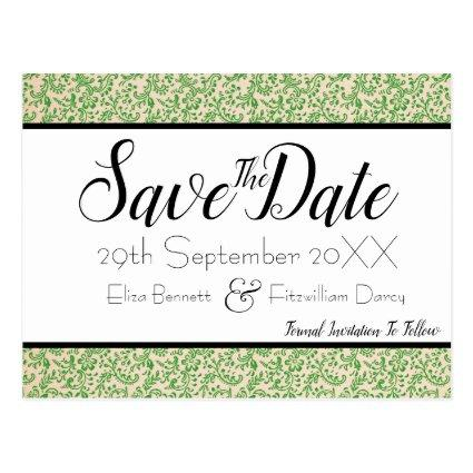 Elegant Green Floral Save the Date Cards