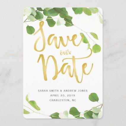 Elegant Greenery and Gold Script Save the Date