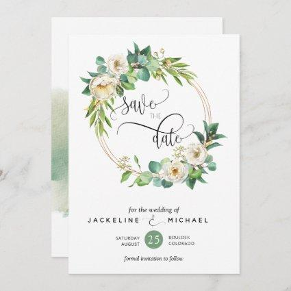 Elegant Greenery and White Floral Wedding Save The Date