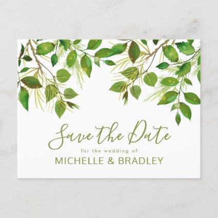 Elegant Greenery Botanical Foliage Save the Date Announcement