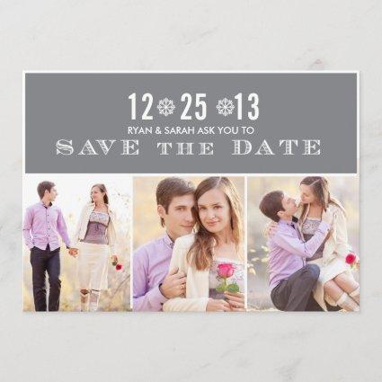 Elegant Grey Snowflake Save the Dates & Photos Save The Date