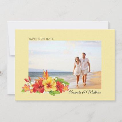 Elegant Hibiscus Tropical Floral Photo Wedding Save The Date