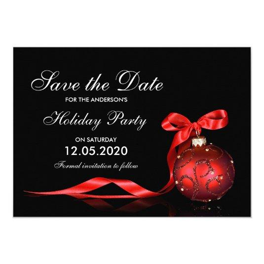 Elegant Holiday And Christmas Party Save The Date 5x7 Paper Invitation Card
