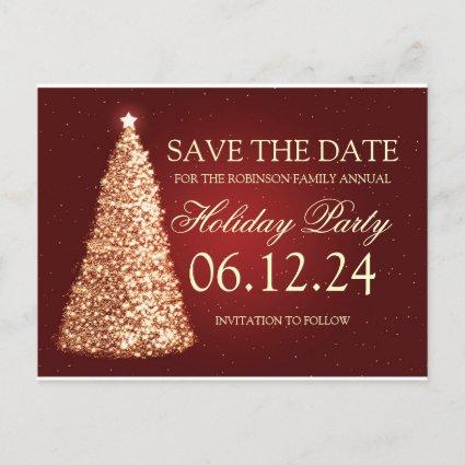Elegant Holiday Party Save The Date Gold Red Announcement