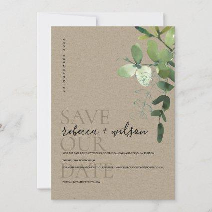 ELEGANT KRAFT GREEN EUCALYPTUS FOLIAGE WATERCOLOR SAVE THE DATE