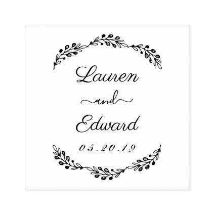 Elegant Laurel Couple Names Wedding Save the Date Rubber Stamp