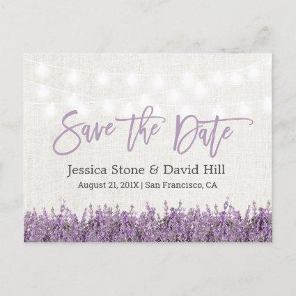 Elegant Lavender Floral Wedding Save the Date Announcement