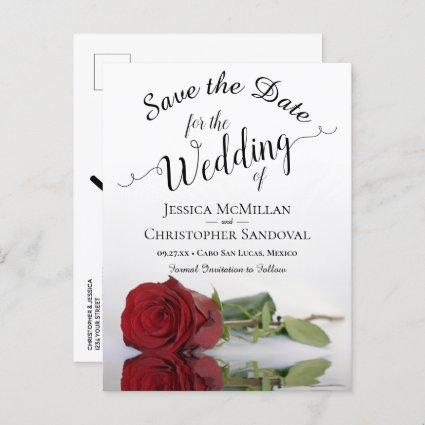 Elegant Long Stem Red Rose Wedding Save the Date Announcement