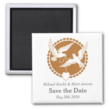 Elegant Love Doves Save the Date Wedding Magnets