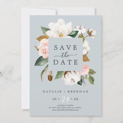 Elegant Magnolia | Blue Gray Save the Date Card
