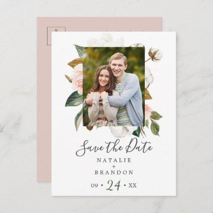 Elegant Magnolia | White Photo Save the Date Invitation