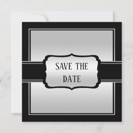 Elegant Man's Silver & Black Birthday Save The Date