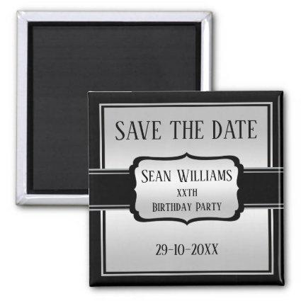 Elegant Man's Silver & Black  Save The Date Magnet