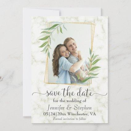 Elegant Marble Gold Photo Wedding Save the Date