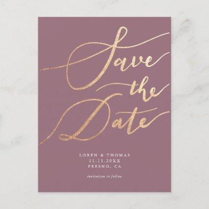 Elegant Mauve Gold Script Save the Date Announcement