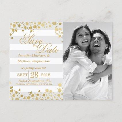 Elegant Modern Faux Gold Splatters and Stripes Announcement