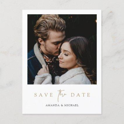 Elegant Modern Gold Photo Save the Date Wedding Announcement