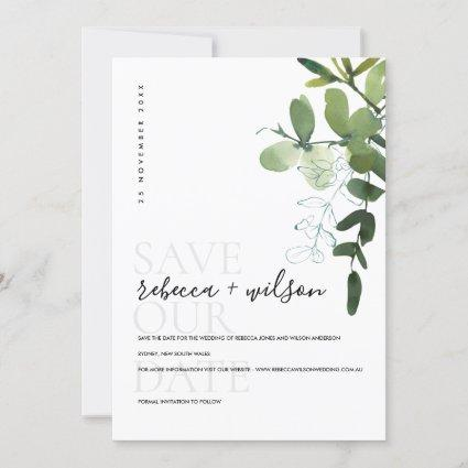 ELEGANT MODERN GREEN EUCALYPTUS FOLIAGE WATERCOLOR SAVE THE DATE