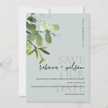 ELEGANT MODERN GREEN GREY EUCALYPTUS WATERCOLOR SAVE THE DATE