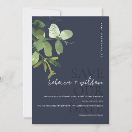 ELEGANT MODERN GREEN NAVY EUCALYPTUS WATERCOLOR SAVE THE DATE