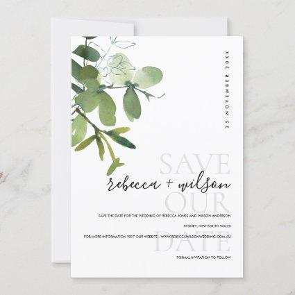 ELEGANT MODERN GREEN WHITE EUCALYPTUS WATERCOLOR SAVE THE DATE