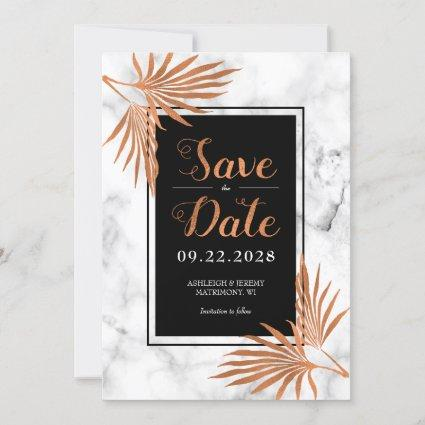 Elegant Modern Marble Copper Save The Date